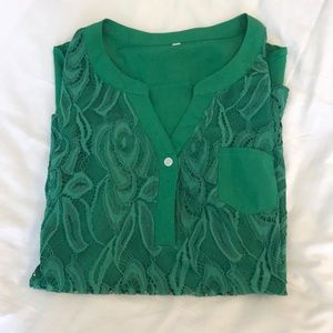 Tops - Green Lacy Button Up Blouse